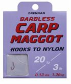 Drennan HOOKS TO NYLON BARBLESS Carp Maggot