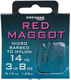 Drennan HOOKS TO NYLON BARBED Red Maggot
