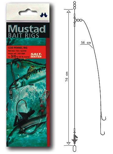 Mustad rig cod pennel for Cod fishing rigs