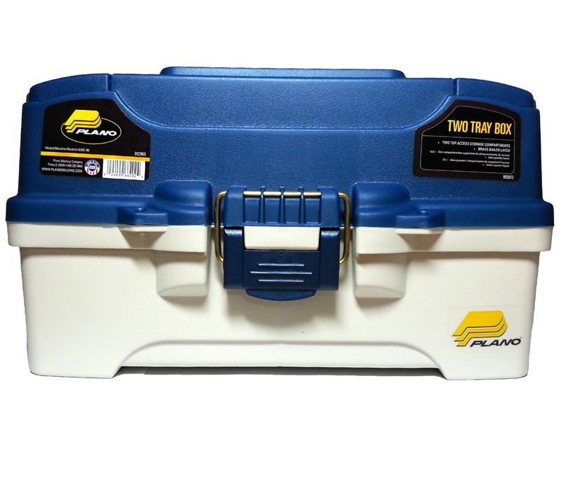 Plano 2 tray cantilever tackle box blue for Plano fishing tackle boxes