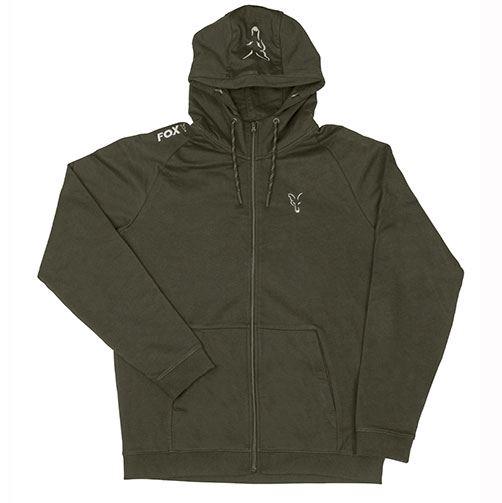 Fox Collection Green /& Silver Lightweight Zip Hoodie
