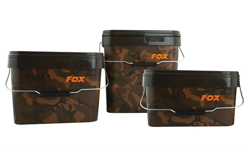 Anglers' Equipment Sporting Goods 4 X 5L CAMO BAIT BUCKETS WITH METAL HANDLE CARP PIKE COARSE FISHING